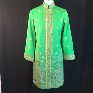 Vtg Green Exotic Alfred Shaheen Tunic Top Dress